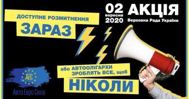 Прес-реліз  про комплексний законопроект про доступне розмитнення 3704-3706  та про акцію під стінами Верховної Ради України 02 вересня 2020 року  в його підтримку